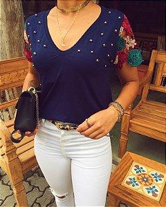 T-shirt Bordada Renda Guipir