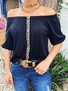 T-shirt Ombro a Ombro com Faixa Etnica