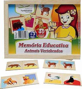 Memória Educativa Animais Vertebrados - 40 peças
