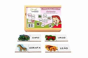 Memória Educativa Animais e Nomes - 40 peças