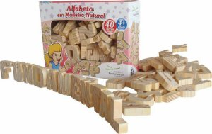 Alfabeto de Madeira Natural - 40 peças