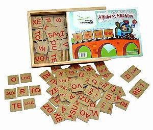 Alfabeto Silábico com 160 peças em mdf