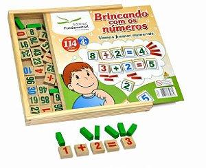 Brincando com números - 114 peças de madeira