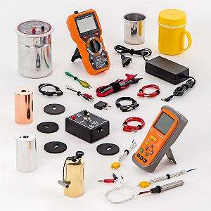 Conjunto termodinâmica, calorimetria a seco, com termômetro digital, fonte e medidor