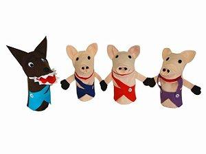 Conjunto Fantoches - Os Três Porquinhos Especial - 4 peças