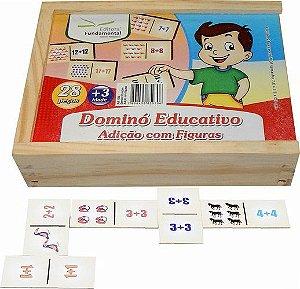 Dominó Educativo Adição com Figuras c/ 28 peças
