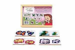Memória Educativa - Animais e Filhotes - Jogo c/40 peças - MDF