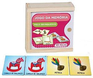 Memória Meus Brinquedos em madeira - 40 peças