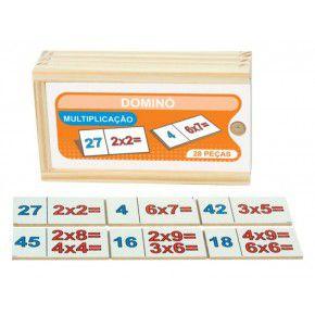 Dominó de Multiplicação em madeira - 28 peças