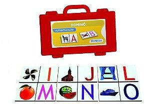 Dominó de Alfabetização em madeira - 28 peças