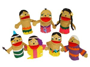 Conjunto de Fantoches Família Indígena -  7 peças