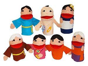 Conjunto de Fantoche Família Oriental - 7 peças