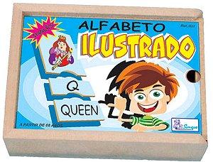 Alfabeto Ilustrado em Inglês em Madeira - 78 peças