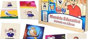 Memória Animais com Libras - 40 peças