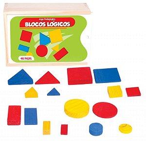 Blocos Lógicos em madeira - 48 peças