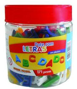 Pote com Letras em plástico - 171 peças