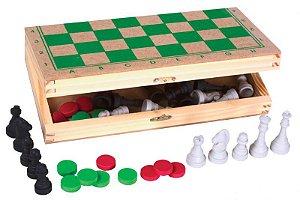 Jogo 2 em 1 - Xadrez e Damas c/ estojo