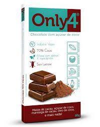 CHOCOLATE 70 COM ACUCAR DE COCO ONLY 4   80G