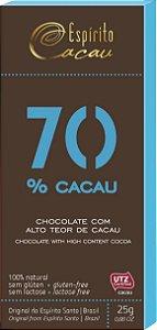 CHOCOLATE 70% CACAU C/ ACUCAR 25G ESPIRITO CACAU