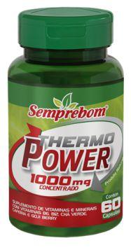 Thermo Power (cafeína+chá verde+goji berry+B6+B12)- 60 cápsulas - 1000mg