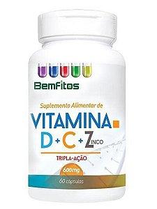 VITAMINA D+C+Z TRIPLA ACAO 60 CAPSULAS DE 600MG BEMFITOS