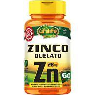 Zinco Quelato - 60 Cápsulas - 28mg - Unilife