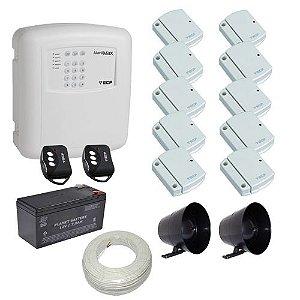 Kit Alarme Residencial / Comercial ECP 10 Sensores Abertura Sem Fio com Discadora Telefônica