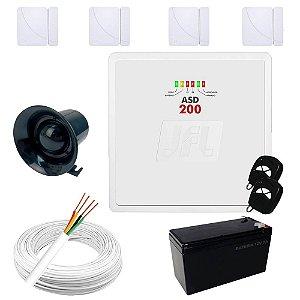 Kit de Alarme Residencial / Comercial com 4 Sensores de Portas ou Janelas Sem Fio - Completo
