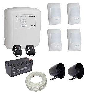 Kit Alarme ECP Residencial / Comercial com Discadora Telefônica e 4 Sensores Com Fio