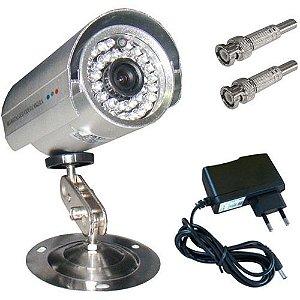 Câmera de Monitoramento com Infravermelho até 30 Metros CCD 1000 Linhas 36 Leds + Fonte + Bnc
