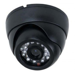 Câmera de Vigilância Formato Dome 24 Leds Infravermelho 20 Metros Ccd Digital 1200 Linhas- Preta