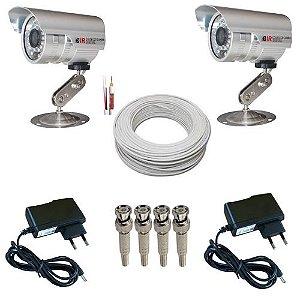 Kit 2 Câmeras Segurança Infravermelho 1000 Linhas + 2 Fontes + 4 Conectores + 30 Metros Cabo Coaxial