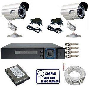 Kit Sistema de Vigilância 02 Câmeras Infravermelho 30 Metros e Gravador Dvr Stand Alone - Acesso Internet