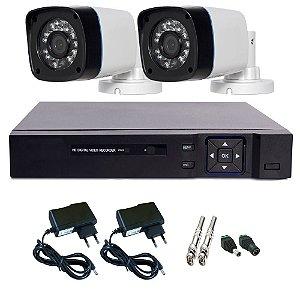 Kit Basic Dvr Stand Alone 4 Canais + 2 Câmeras Infravermelho + 2 Fontes + 4 Conectores