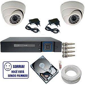 Kit Monitoramento 02 Câmeras Dome Infravermelho 20 Metros Dvr Stand Slone - Acesso Internet