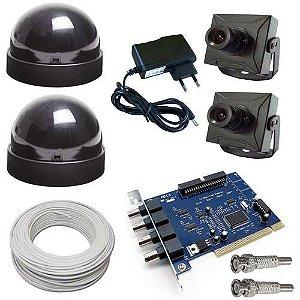 Kit 2 Micro Câmeras de Segurança + Placa de Captura 4ch + 2 Domes + Fonte + Cabo + Conectores