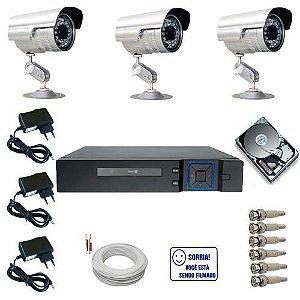 Kit Sistema de Vigilância Completo 3 Câmeras Segurança Infravermelho HD 250 GB