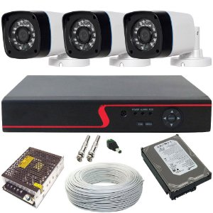 KIT MONITORAMENTO 3 CÂMERAS BULLET AHD 1.3 MP 24 LEDS INFRAVERMELHO DVR 4 CANAIS MULTI HD