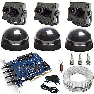 Kit Sistema de Vigilância Completo para Computador- 3 Micro Câmeras