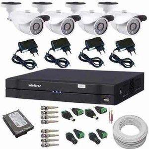 Sistema de Monitoramento Dvr Intelbras 4 Câmeras Segurança AHD 1.3 Megapixel 720p