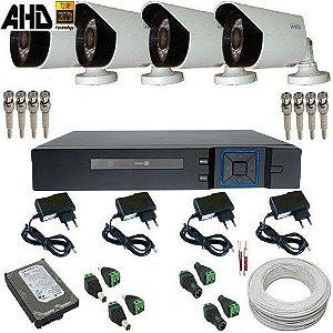Sistema Vigilância Câmeras AHD 1.0 Megapixel Infravermelho com Gravador Dvr Acesso Celular - Alta Resolução
