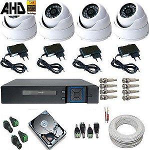 Kit 4 Câmeras Monitoramento AHD 1.3 Megapixel Dome Metal Acesso Celular Alta Definição