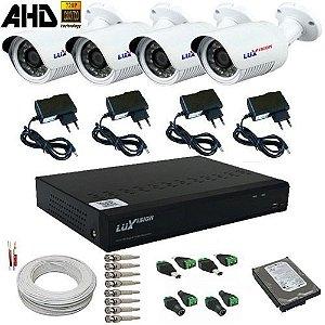 Kit Monitoramento 4 Câmeras AHD 1 Megapixel Dvr com Gravação e Acesso Internet - Alta Resolução