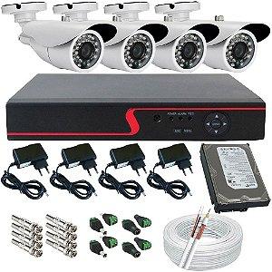 Kit 4 Câmeras Segurança AHD 1.3 Megapixel Dvr Stand Alone Acesso Celular Completo