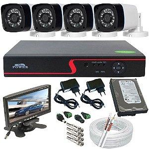 Kit Sistema Monitoramento 4 Câmeras Infravermelho Gravador Dvr Acesso Internet Monitor 7 Polegadas