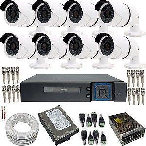Kit 8 Câmeras Segurança Infravermelho AHD 1.3 Megapixel + Dvr Stand Alone Luxvision Acesso Internet