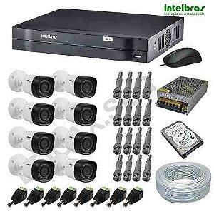 Sistema de Monitoramento Intelbras 8 Câmeras Infravermelho HDCVI Alta Definição Acesso Internet