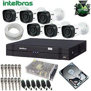 Kit 06 Câmeras Infra Dvr 8 Canais Intelbras Multi HD Alta Definição + HD  1 Tb