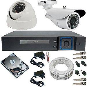 Kit 2 Câmeras AHD 720p Alta Resolução + DVR Stand Alone 4 Canais Acesso Via Internet