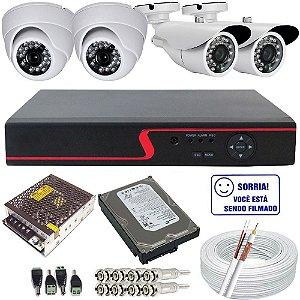 Kit 04 Câmeras Infravermelho AHD 720p Alta Resolução + DVR Stand Alone AHD 720p